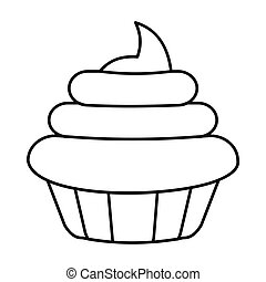Cake icon in outline style vector illustration for design and web isolated