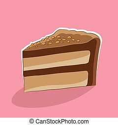Cake Icon on a Pink Background Vector Illustration
