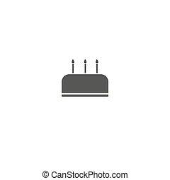Cake icon on white background. Vector illustration.