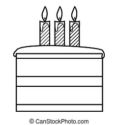 Cake icon, outline style