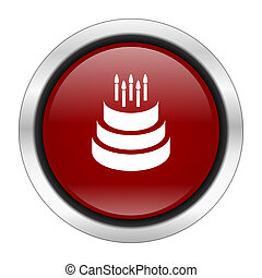 cake icon, red round button isolated on white background, web design illustration