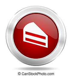 cake icon, red round glossy metallic button, web and mobile app design illustration