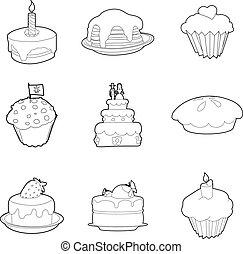 Cake icon set, outline style