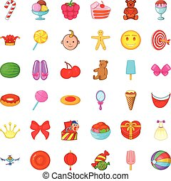 Cake icons set, cartoon style