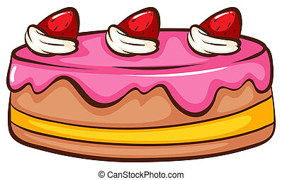 Cake - Illustration of a strawberry cake