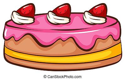 Cake - Illustration of a strawberry cake