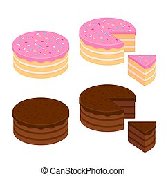 Cake illustration set - Birthday cake and chocolate cake...