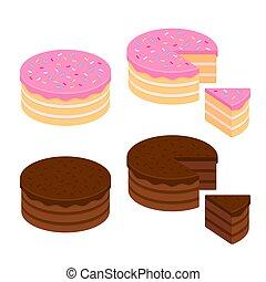Cake illustration set - Birthday cake and chocolate cake...