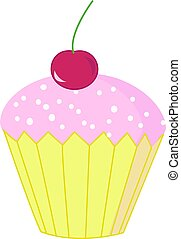 Cake, illustration, vector on white background.