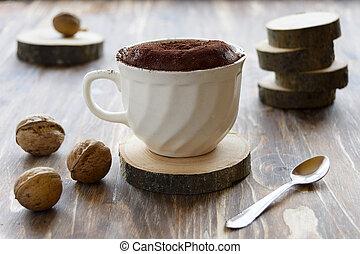 cake in a cup in rustic setting