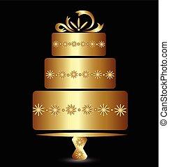 Cake golden logo design for celebrate anniversary or wedding vector illustration