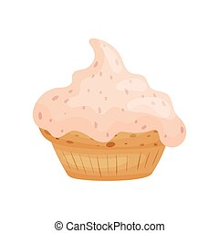 Cake in the form of a basket with cream. Vector illustration on white background.