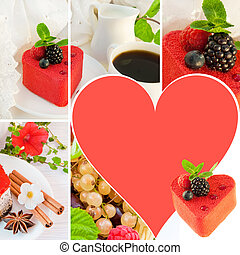 Cake in the form of heart with a blackberry, a raspberry and mint, a cup of coffee