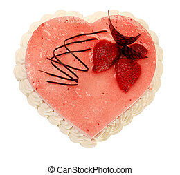 cake in the shape of heart with very on the white background