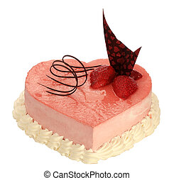 cake in the shape of heart with very