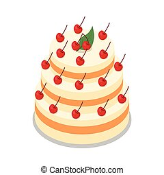 Cake in Three Tiers Decorated with Many Cherries