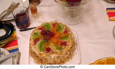 Cake is cut and then served at banquet - Cake is cut and...