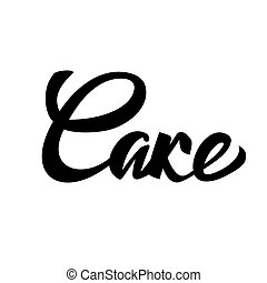 Cake lettering typography. Ideal for bakery logotype design, icon, card, postcard, logo banner. Vector handwritten illustration