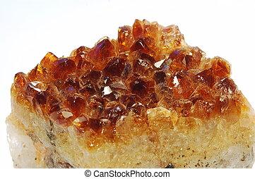 Cake-like stone - Reddish mineral citrine isolated on white ...