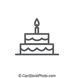 Cake line icon on white background