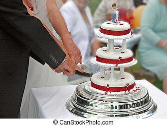 cake., noiva, corte, noivo, casório