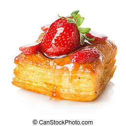 Cake of puff pastry with strawberry isolated on white