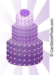 Cake of Purple Color with Rose Vector Illustration
