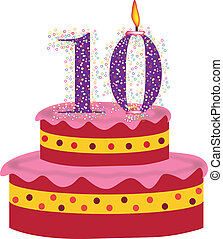 cake of tenth birthday,anniversary - cake with candles of...