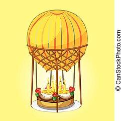 cake on a hot air balloon