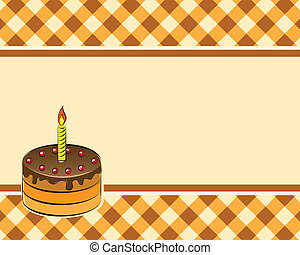 Cake on a plaid background. Vector illustration