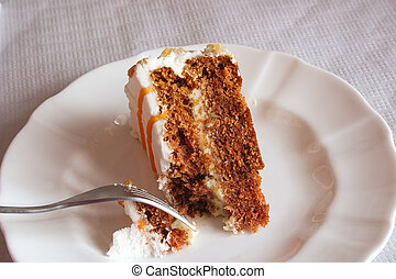 cake on a plate cut