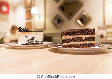 Cake on a table in cafe