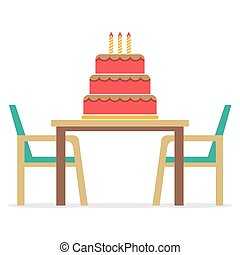 Cake On A Table With Chairs.