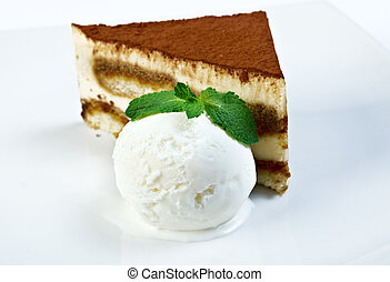 cake on a white plate