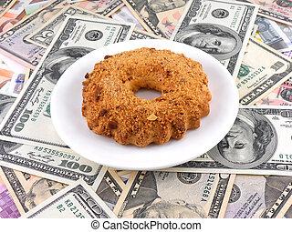 cake on money dollars background