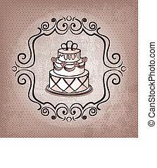 cake on polka dot background - vector illustration