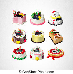 cake or christmas cakes collection on a background.