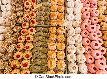 Cake pastries in bakery typical from Italy