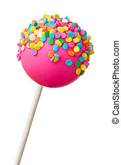 Pink cake pop decorated with colorful sprinkles