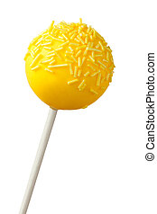 Yellow cake pop isolated on white