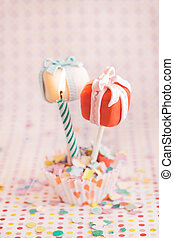 Cake pops as a gift with a candle, for celebration or maybe...