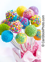 Cake pops - Assortment of brightly colored cake pops