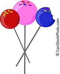 Cake pops, illustration, vector on white background.