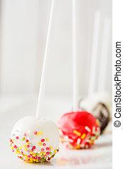 Cake pops on white background