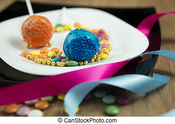 Cake Pops - Cake pops, sweet soft food made from a mixture...
