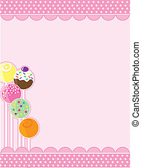 Cake Pops - A pink background with top and bottom decorative...