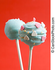 Cake pops with heart shaped candies - Cake pops with heart...