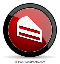cake red circle glossy web icon on white background - set440