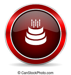 cake red circle glossy web icon, round button with metallic border