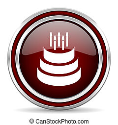Cake red glossy icon. Chrome border round web button. Silver metallic pushbutton.